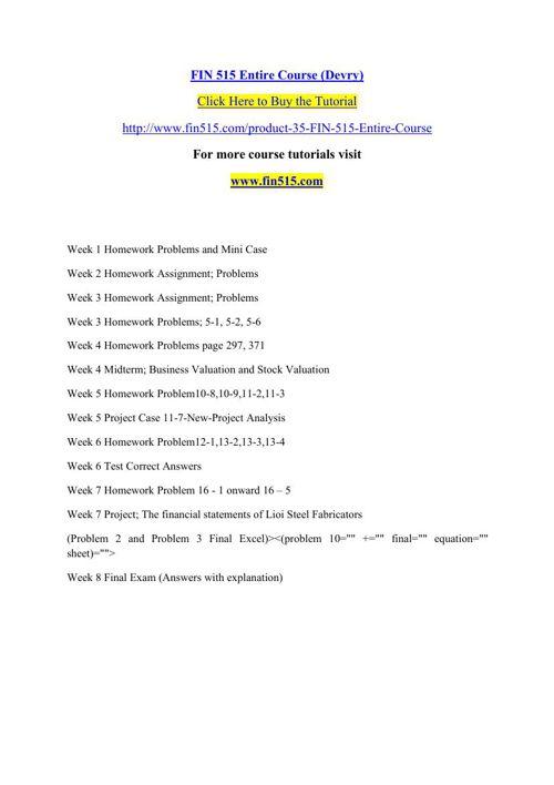 FIN 515 Entire Course (Devry)