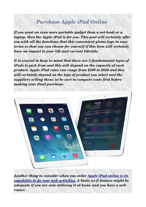 Purchase Apple iPad Online