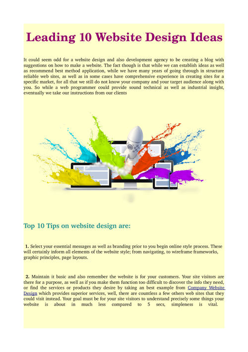 Leading 10 Website Design Ideas