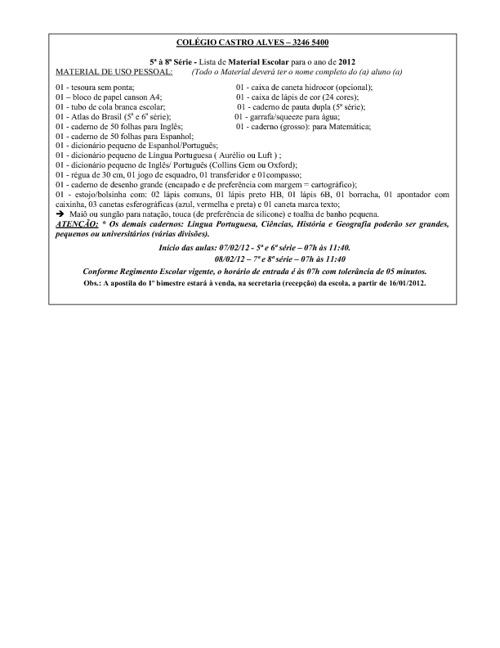 Lista de Material 2012