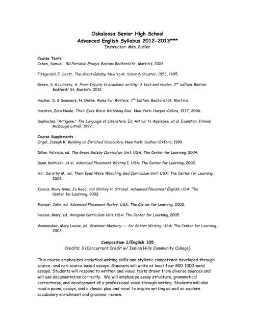 2012 Advanced English Syllabus