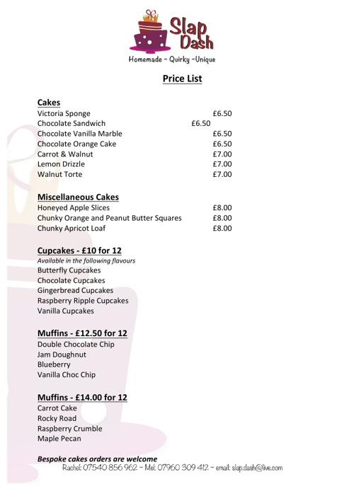 Slap Dash Price List 2013