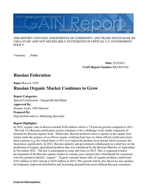 Russian Organic Market Continues to Grow_Report 2013