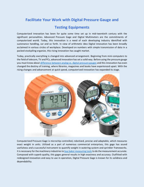 Facilitate Your Work with Digital Pressure Gage and Testing Equi