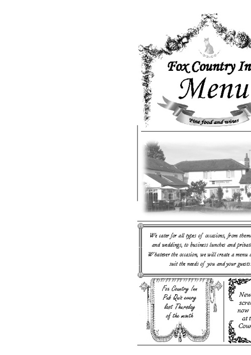 Fox County Inn Menu
