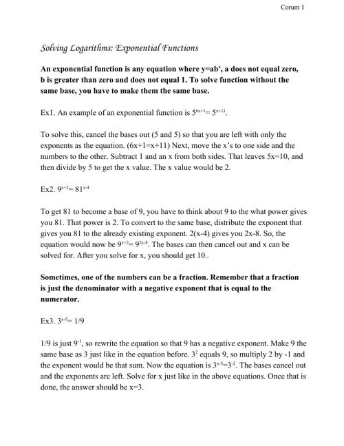 Solving  Logarithms