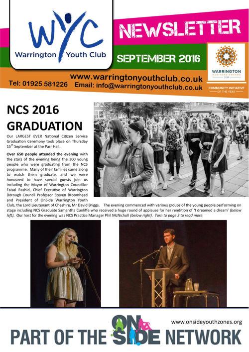 Warrington Youth Club Newsletter September 2016