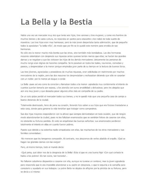 CUENTO DE LA BELLA Y LA BESTIA