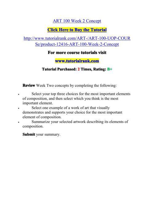 ART 100 Potential Instructors / tutorialrank.com