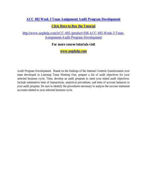 ACC 492 Week 3 Team Assignment Audit Program Development