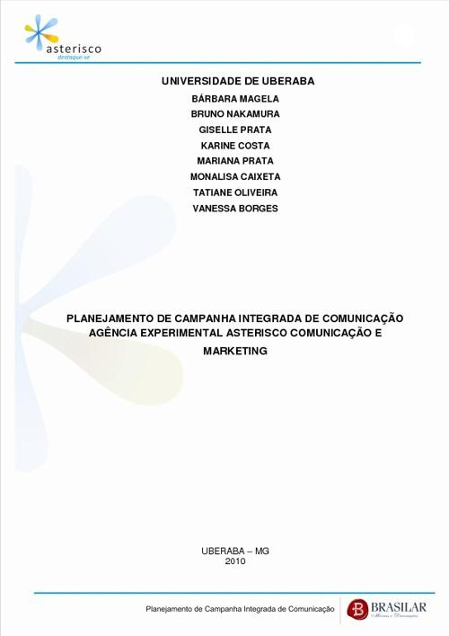 TCC Agencia Asterisco- Campamha Mercadologica Brasilar 2010