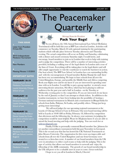 Peacemaker Quarterly January 2011