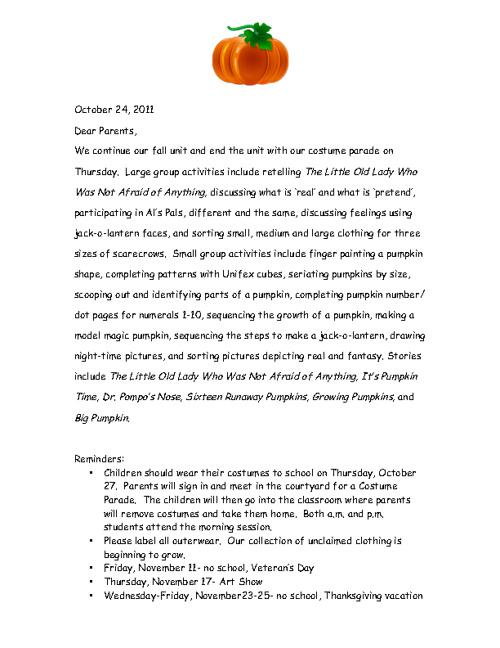 October 24, 2011 GMS Preschool