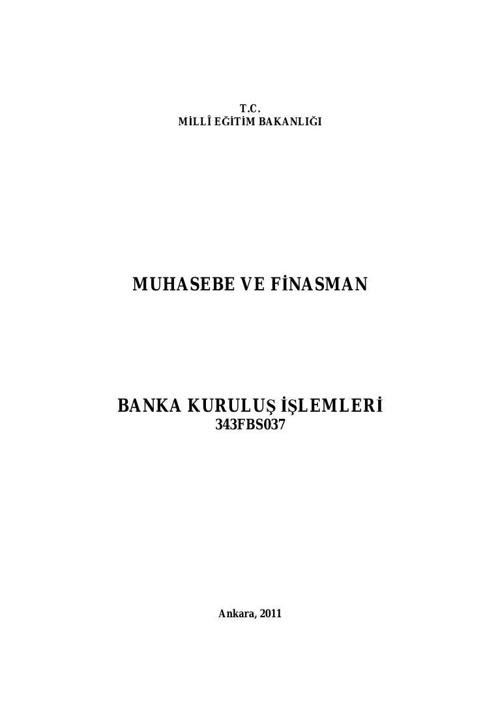 Banka Kuruluş İşlemleri