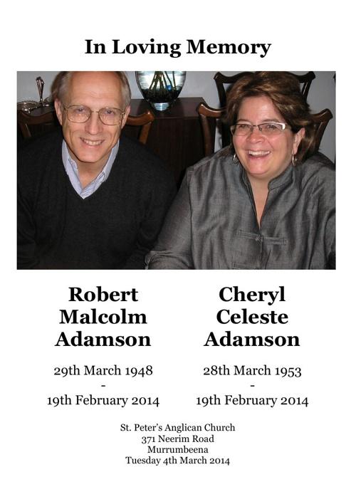 4 Order of Service for Robert & Cheryl Adamson