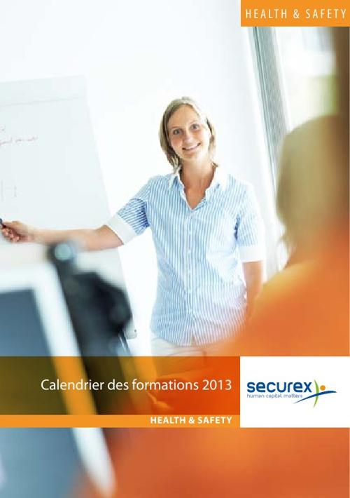 Calendrier des formations 2013 - Securex