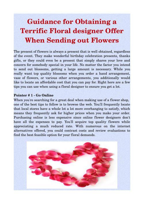 Guidance for Obtaining a Terrific Floral designer Offer When Sen