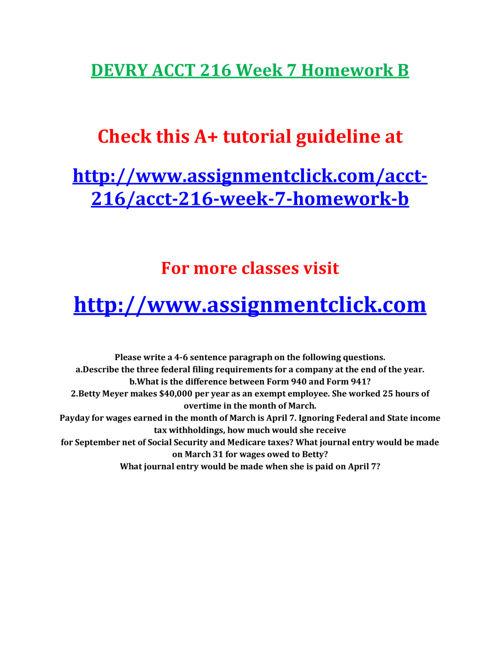 DEVRY ACCT 216 Week 7 Homework B