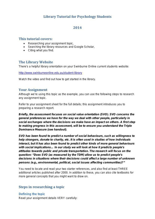 PSY10004 SOL library tutorial 2014
