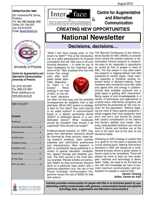 Interface-CAAC August 2013 Newsletter