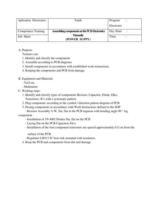 job sheet regulator PS