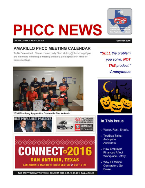 AMARILLO PHCC OCTOBER 2016 NEWSLETTER