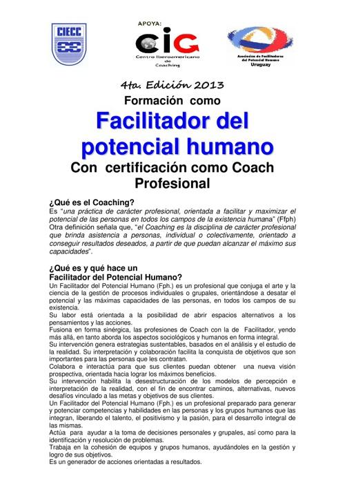 Formación como Facilitador del Potencial Humano /