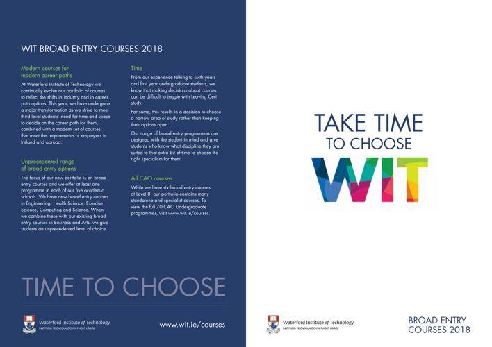 Take Time to Choose WIT