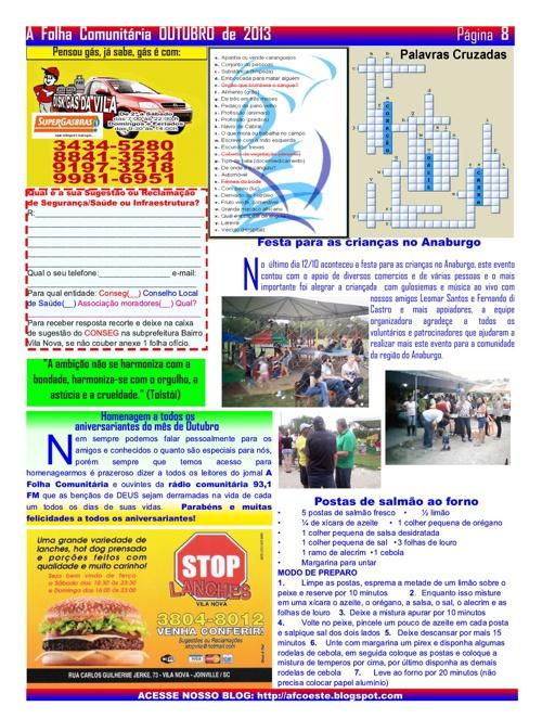 edição de outubro A Folha Comunitária