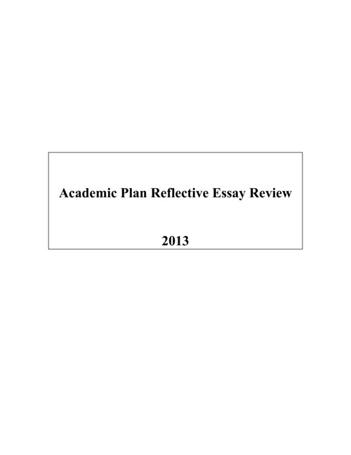 Academic Plan Reflective Essay Review