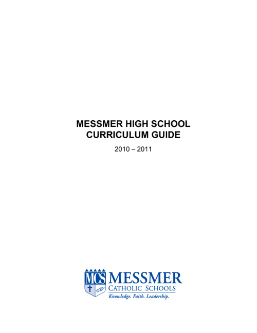 Copy of Copy of High School Curriculum Guide