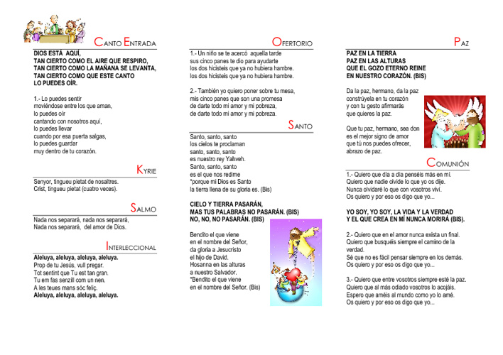 Folleto de cantos Misa Final de Curso 2011-2012