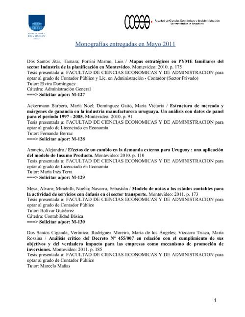 Monografías Mayo 2011