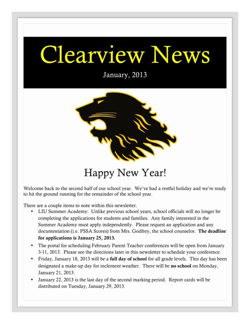January, 2013 Clearview Newsletter