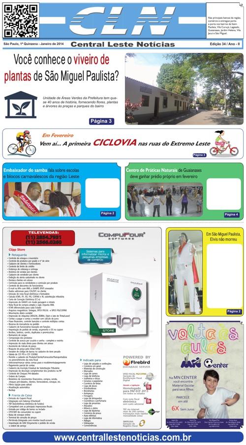 EDICAO 034 1ª Q. JAN/14 JORNAL CLN - CENTRAL LESTE NOTICIAS