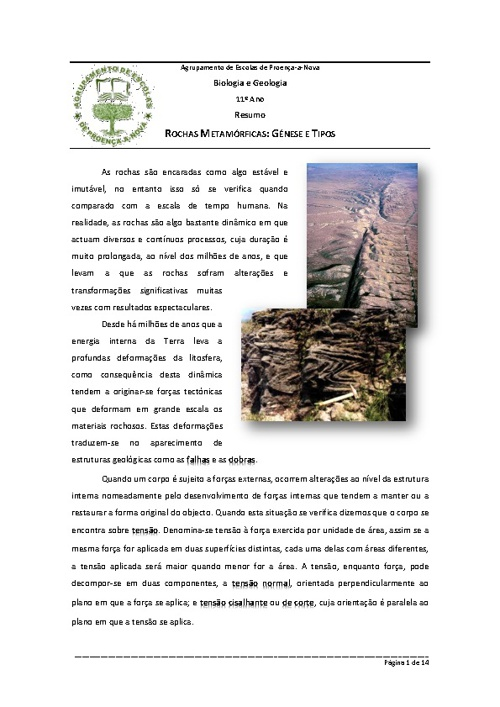 Resumo - 11º Ano - Rochas Metamórficas