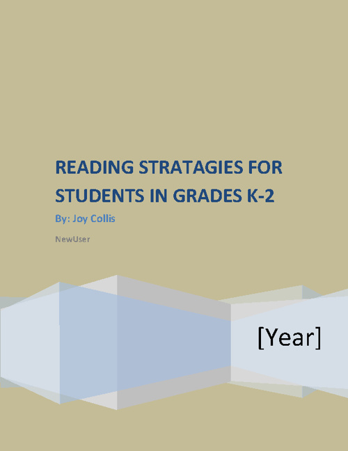 Reading Stratagies for Grades k-2 **