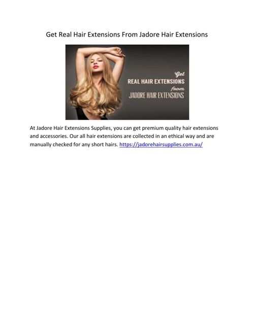 Get Real Hair Extensions From Jadore Hair Extensions