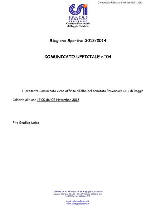 comunicato ufficiale n°4 del 05 Novembre 2013