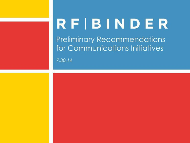 Preliminary Recommendations for Communications Initiatives - for