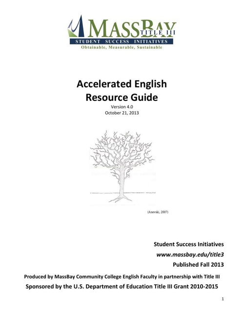 Accelerated English Resource Guide - Oct 2013
