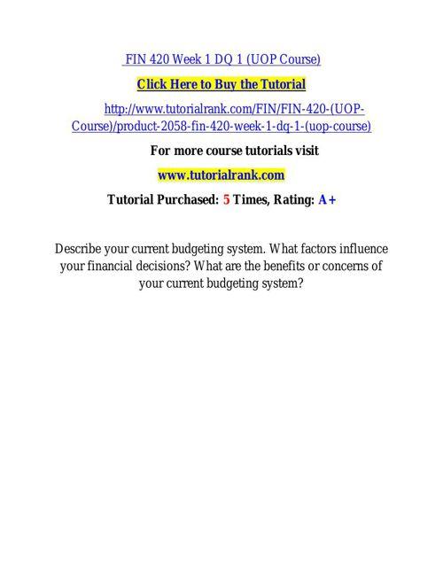 FIN 420 learning consultant / tutorialrank.com