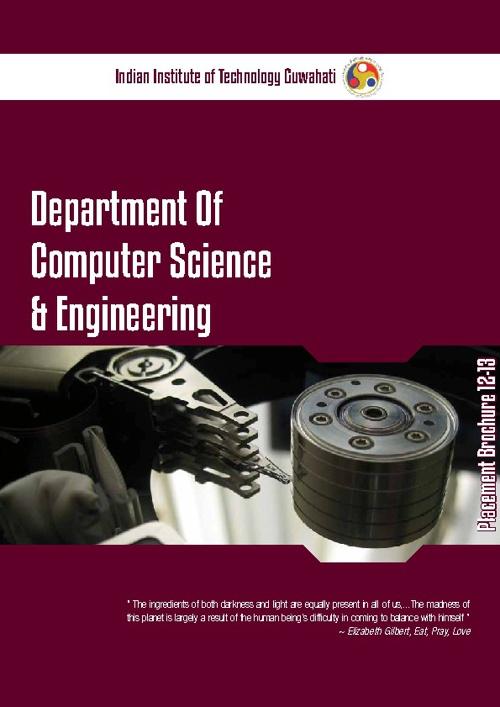 IITG CSE Department Placement Brochure 12-13