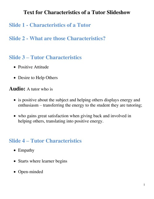 Text for the Characteristics of a Tutor presentation
