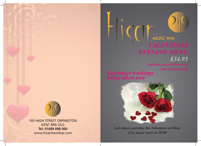 Hisar Valentines Evening Menu
