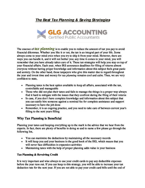 The Best Tax Planning