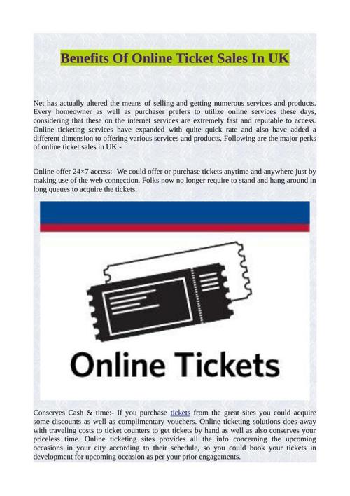Benefits Of Online Ticket Sales In UK
