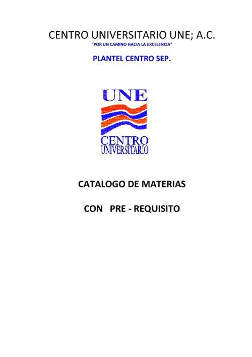 CATALOGO DE MATERIAS CON PRE - REQUISITO