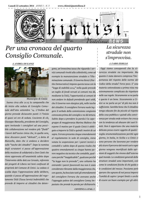 Chinnisi Puntolinea n°5 - 22 settembre 2014