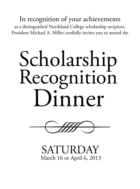 Scholarship Recognition Dinner - Event Schedule